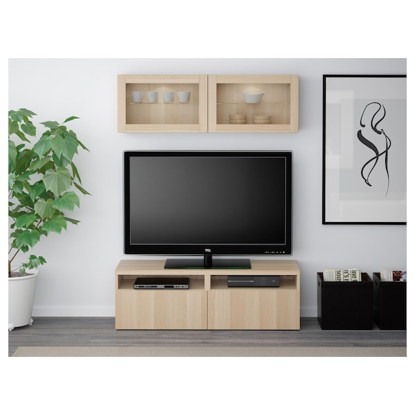 BESTÅ TV storage combination/glass doors Lappviken/Sindvik white stained oak eff clear glass 120 cm 166 cm 20 cm 40 cm
