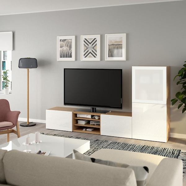 BESTÅ TV storage combination/glass doors oak effect/Selsviken high-gloss/white frosted glass 240 cm 40 cm 128 cm