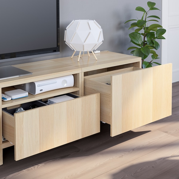 BESTÅ TV storage combination white stained oak effect/Lappviken/Stubbarp white stained oak effect 240 cm 42 cm 230 cm