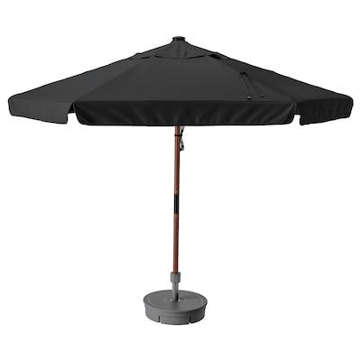 BETSÖ / VÅRHOLMEN Parasol with base, brown wood effect dark grey/Grytö dark grey, 300 cm