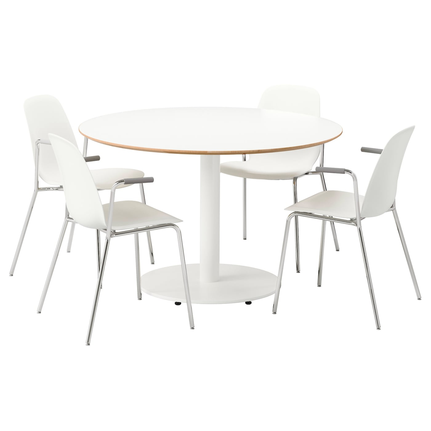 Billsta leifarne table and 4 chairs white white 118 cm ikea for Set de table ikea