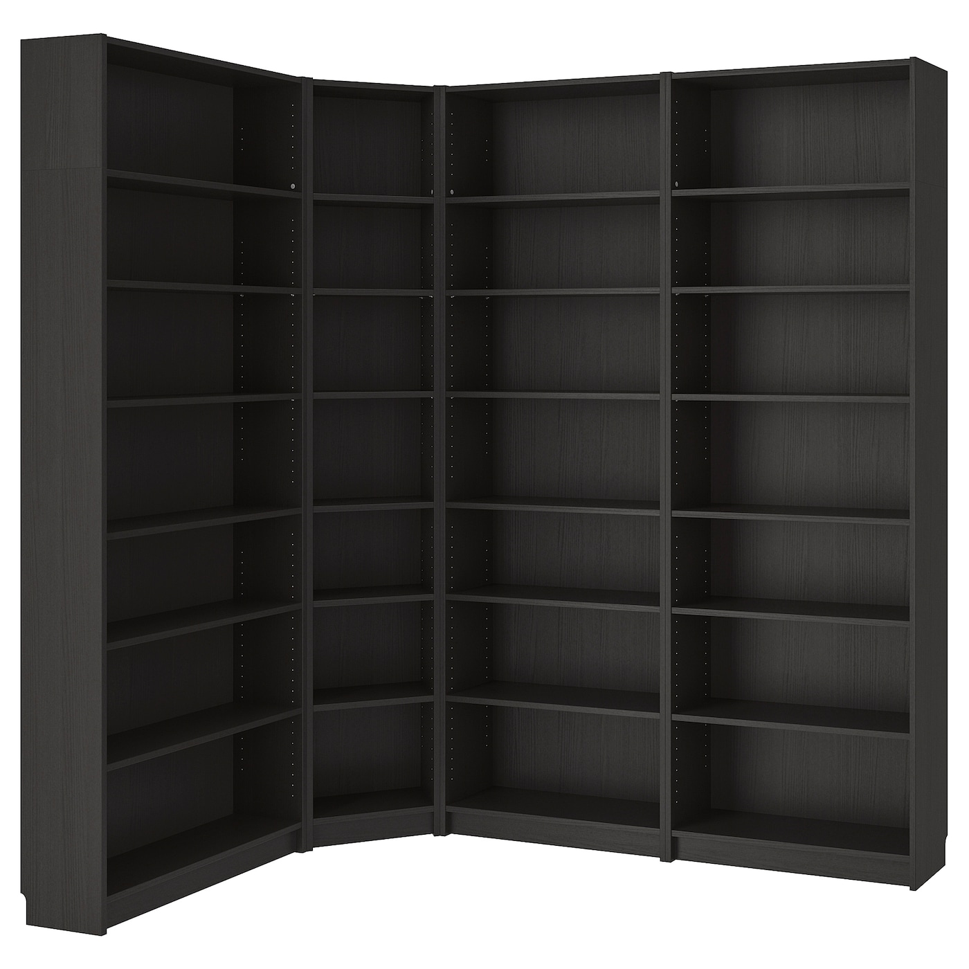 IKEA BILLY bookcase Make use of the room's maximum surface area with corner shelving.