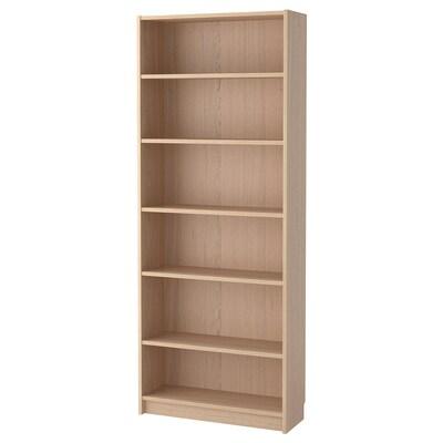 BILLY bookcase white stained oak veneer 80 cm 28 cm 202 cm 30 kg