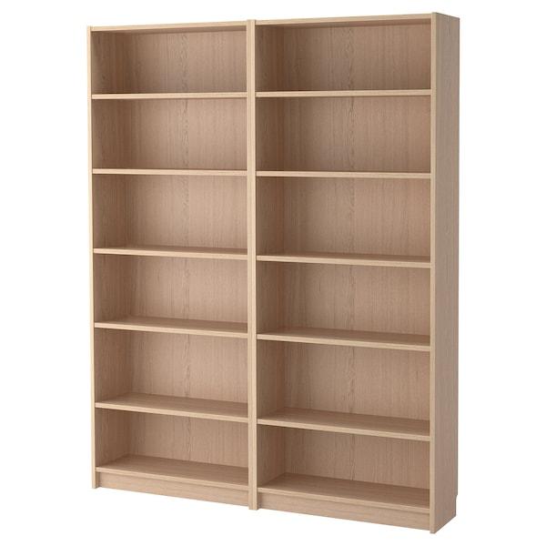 BILLY Bookcase, white stained oak veneer, 160x28x202 cm
