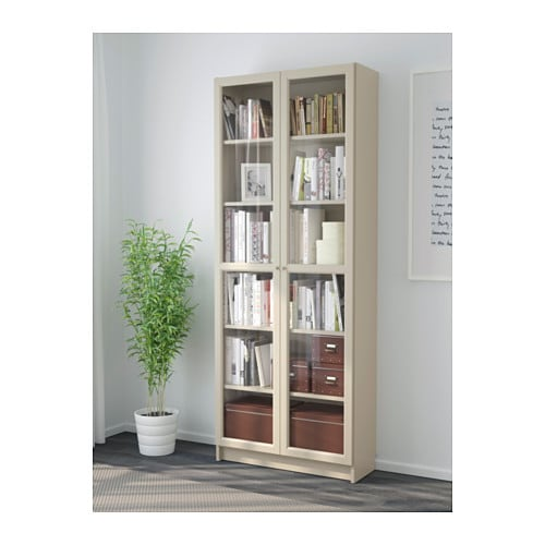 billy bookcase with glass door beige 80x30x202 cm ikea. Black Bedroom Furniture Sets. Home Design Ideas