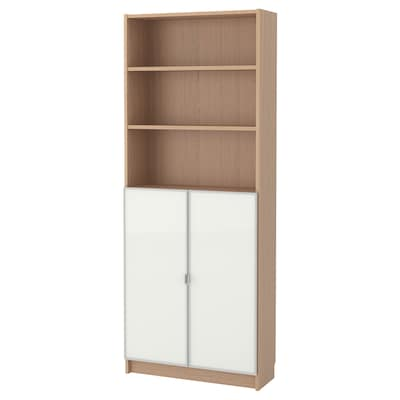 BILLY / MORLIDEN Bookcase with glass-doors, white stained oak veneer/glass, 80x30x202 cm