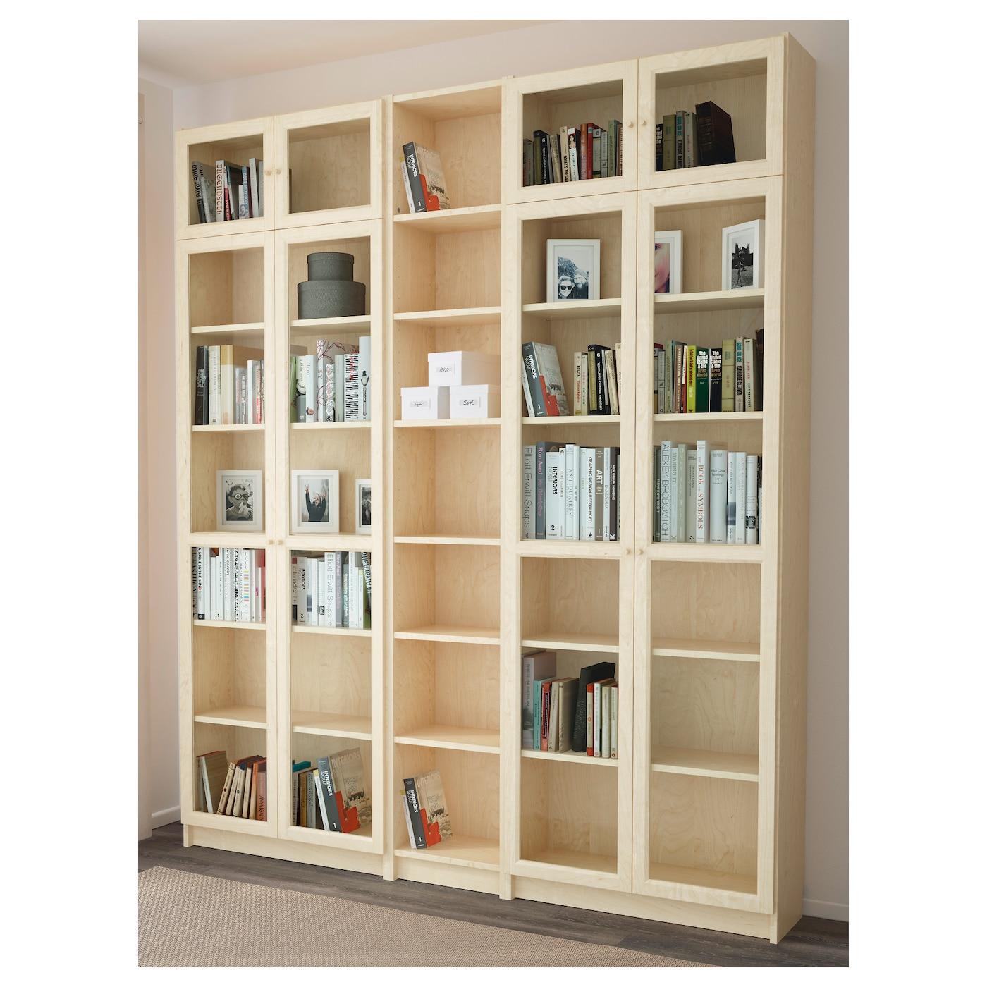 Billy Oxberg Bookcase Birch Veneer 200x237x30 Cm Ikea
