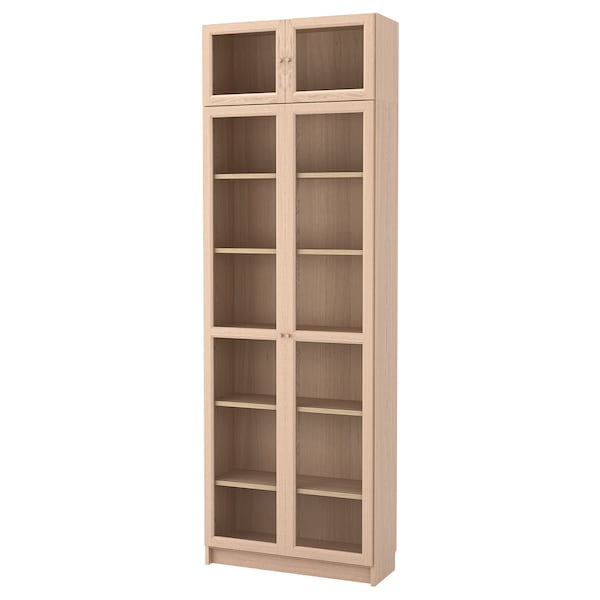 BILLY / OXBERG Bookcase combination/glass doors, white stained oak veneer/glass, 80x30x237 cm