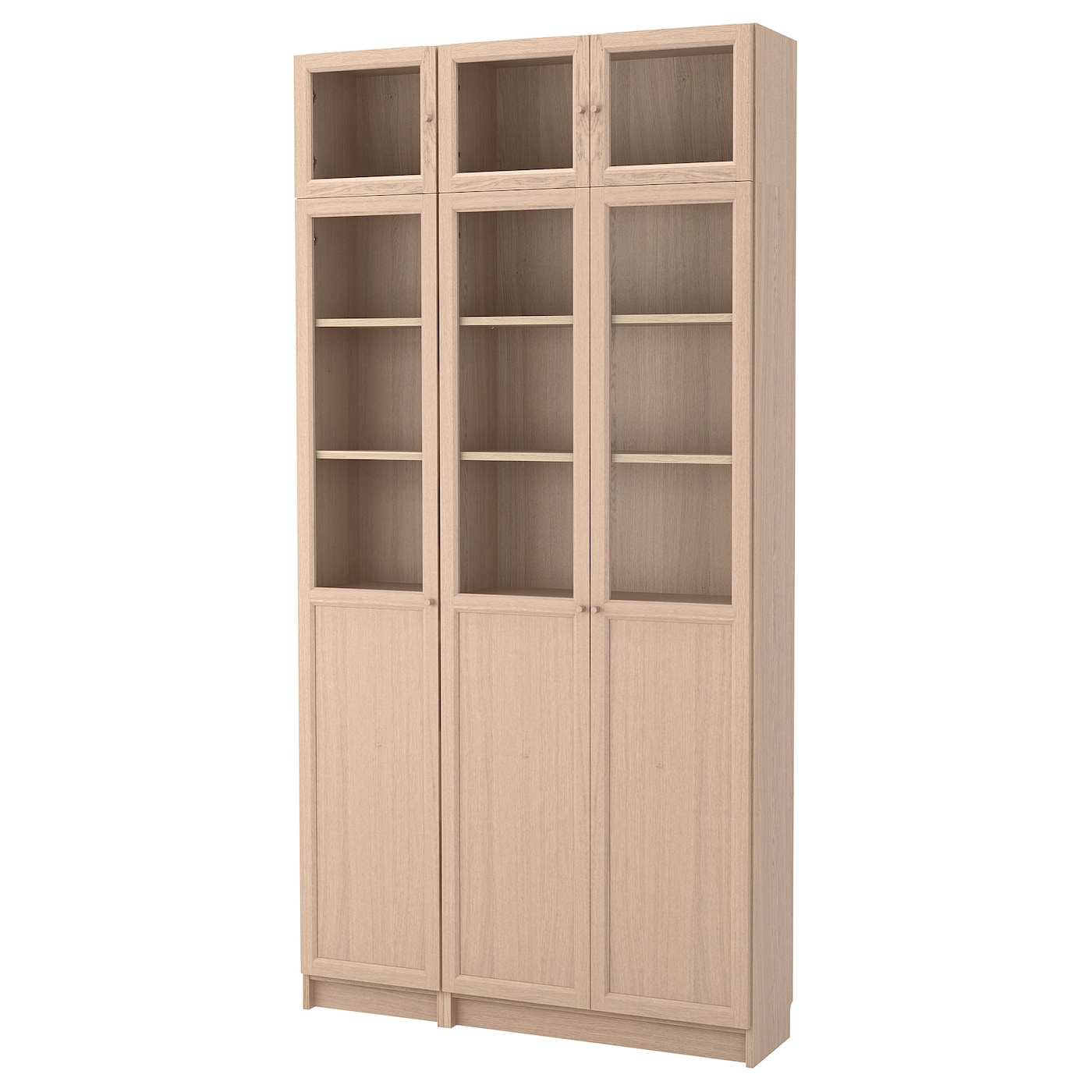 billy oxberg bookcase combination glass doors white stained oak veneer glass 120 x 30 x 237 cm. Black Bedroom Furniture Sets. Home Design Ideas