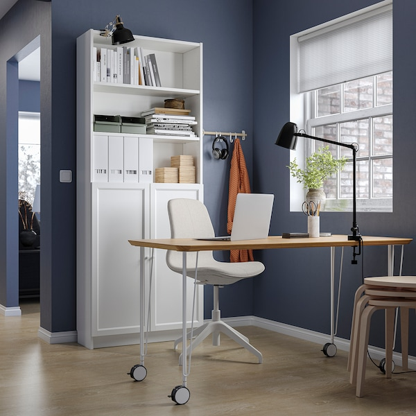BILLY / OXBERG Bookcase with doors, white, 80x30x202 cm