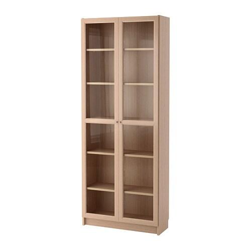 Billyoxberg Bookcase With Glass Door White Stained Oak Veneerglass