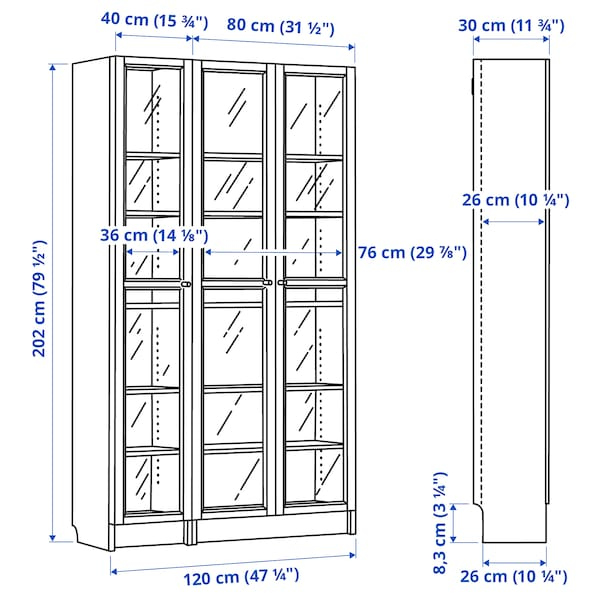 BILLY / OXBERG Bookcase with glass-doors, white, 120x30x202 cm