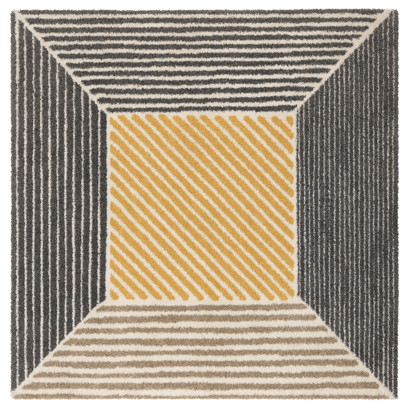 Birket Rug High Pile Yellow Grey 200x200 Cm Ikea