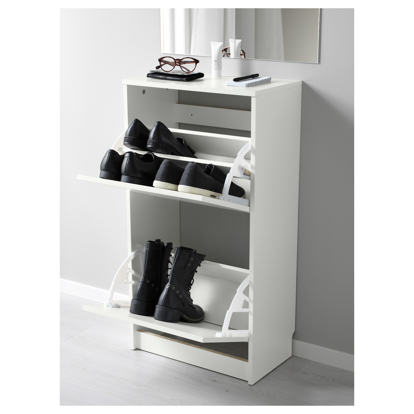 BISSA Shoe cabinet with 2 partments White x cm IKEA