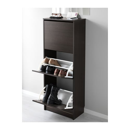 Shoe cabinet with 3 compartments BISSA Black/brown