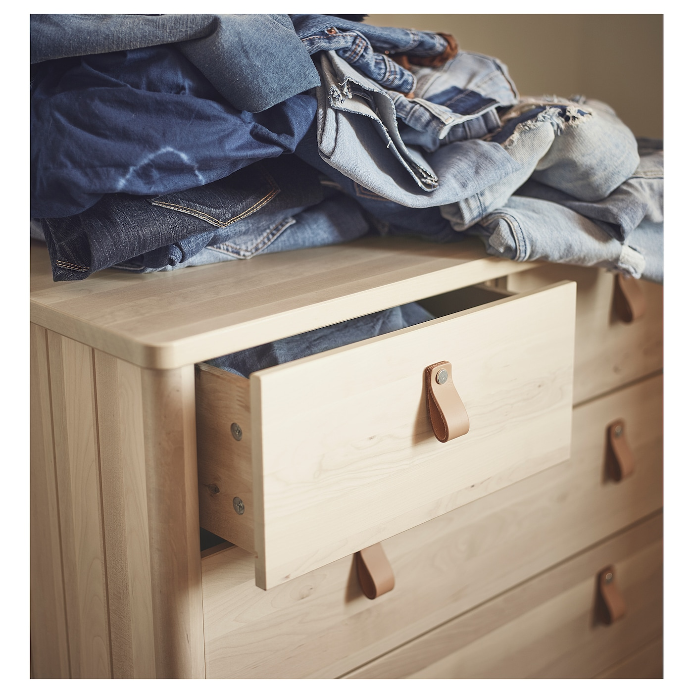 IKEA BJÖRKSNÄS chest of 5 drawers Smooth running drawers with pull-out stop.