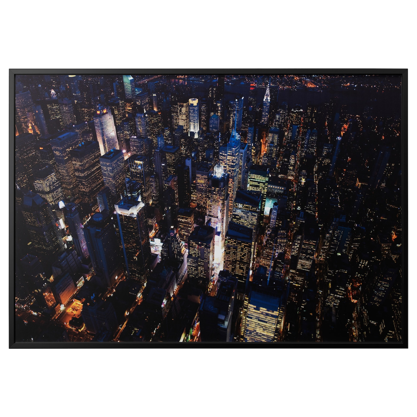 BJÖRKSTA Picture with frame City lights, new york/black 200 x 140 cm ...