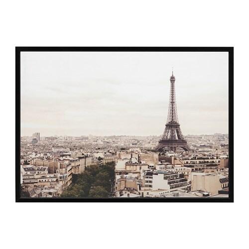 BJÖRKSTA Picture with frame Paris city/black 140 x 100 cm - IKEA
