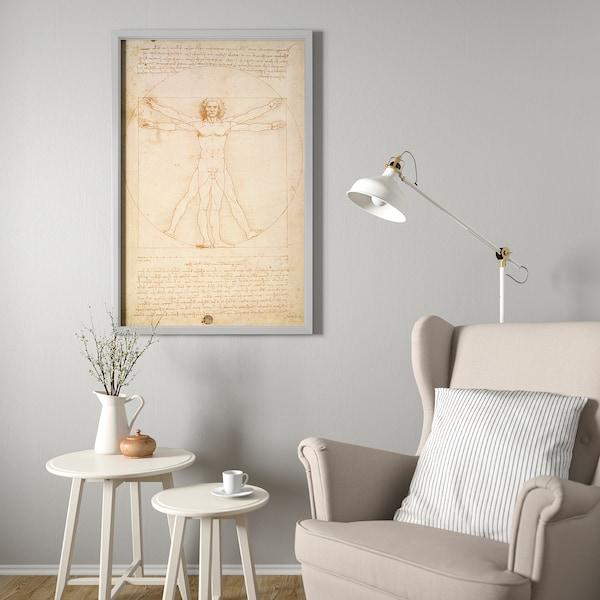 BJÖRKSTA Picture with frame, The Vitruvian Man/aluminium-colour, 78x118 cm