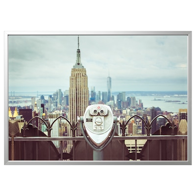 BJÖRKSTA picture with frame Viewpoint/aluminium-colour 140 cm 100 cm
