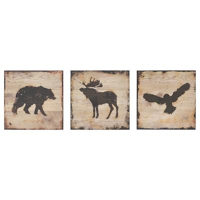 BJÖRNAMO picture, set of 3 animals 25 cm 25 cm