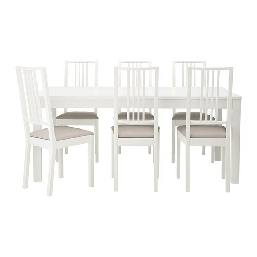 IKEA BJURSTA/BÖRJE table and 6 chairs The clear-lacquered surface is easy to wipe clean.