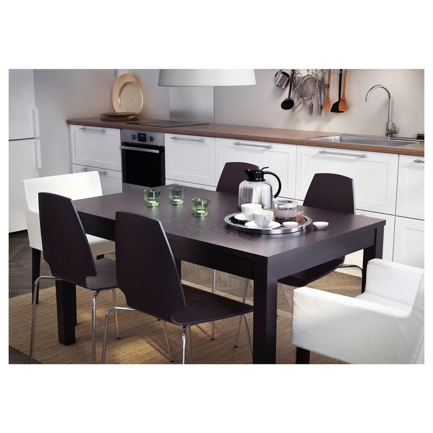 Extendable Table bjursta extendable table brown-black 140/180/220x84 cm - ikea