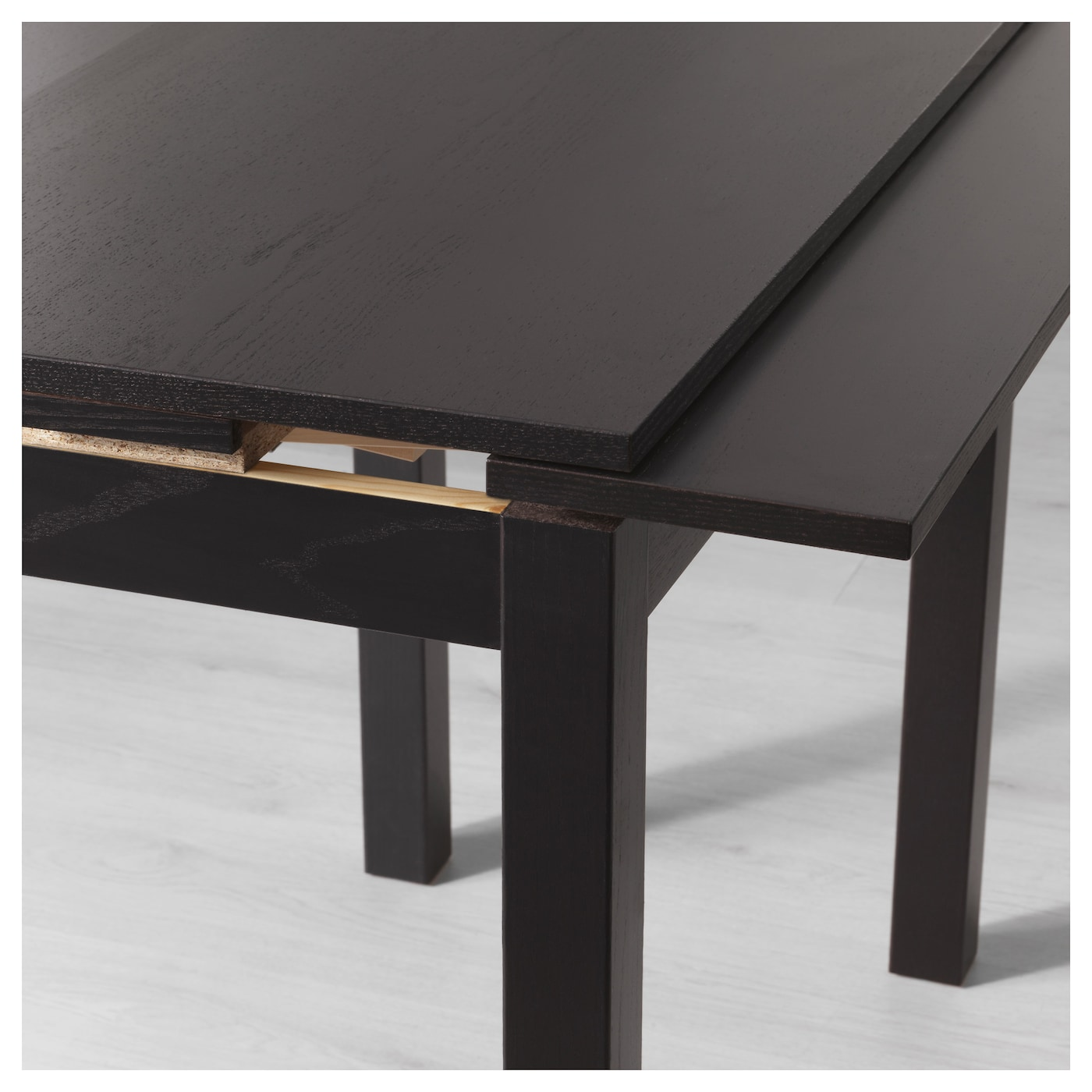 Bjursta extendable table brown black 50 70 90x90 cm ikea for Table 90x90 extensible