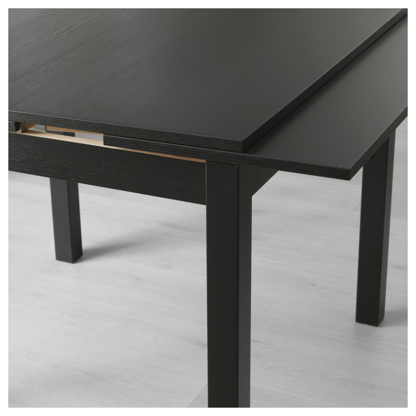 Bjursta extendable table brown black 90 129 168x90 cm ikea for Table ronde rabattable avec rallonge