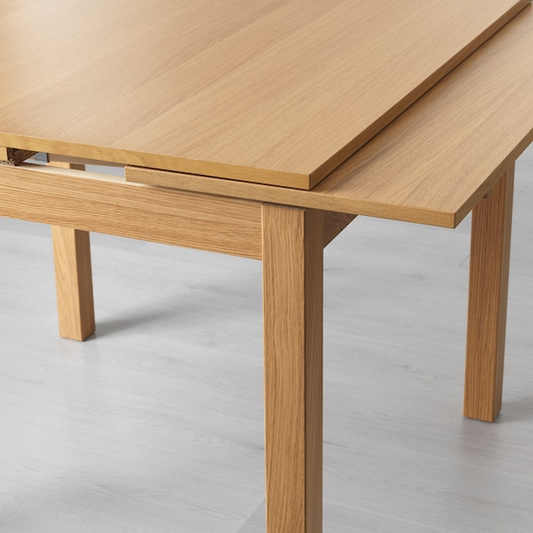 Bjursta Extendable Table Oak Veneer 90 129 168x90 Cm Ikea Ireland
