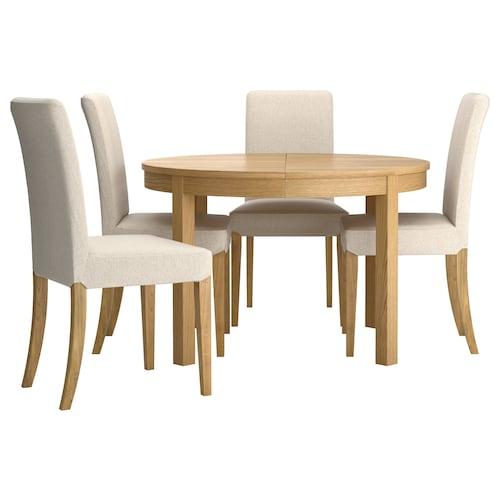 Bjursta Henriksdal Table And 4 Chairs Oak Veneer Linneryd Natural Ikea Ireland