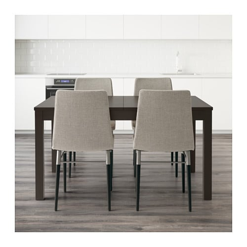 BJURSTA PREBEN Table And 4 Chairs Brown Black Ten Light Grey 140 Cm IKEA