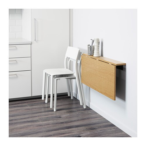 Bjursta wall mounted drop leaf table oak veneer 90x50 cm - Fabriquer table murale rabattable ...