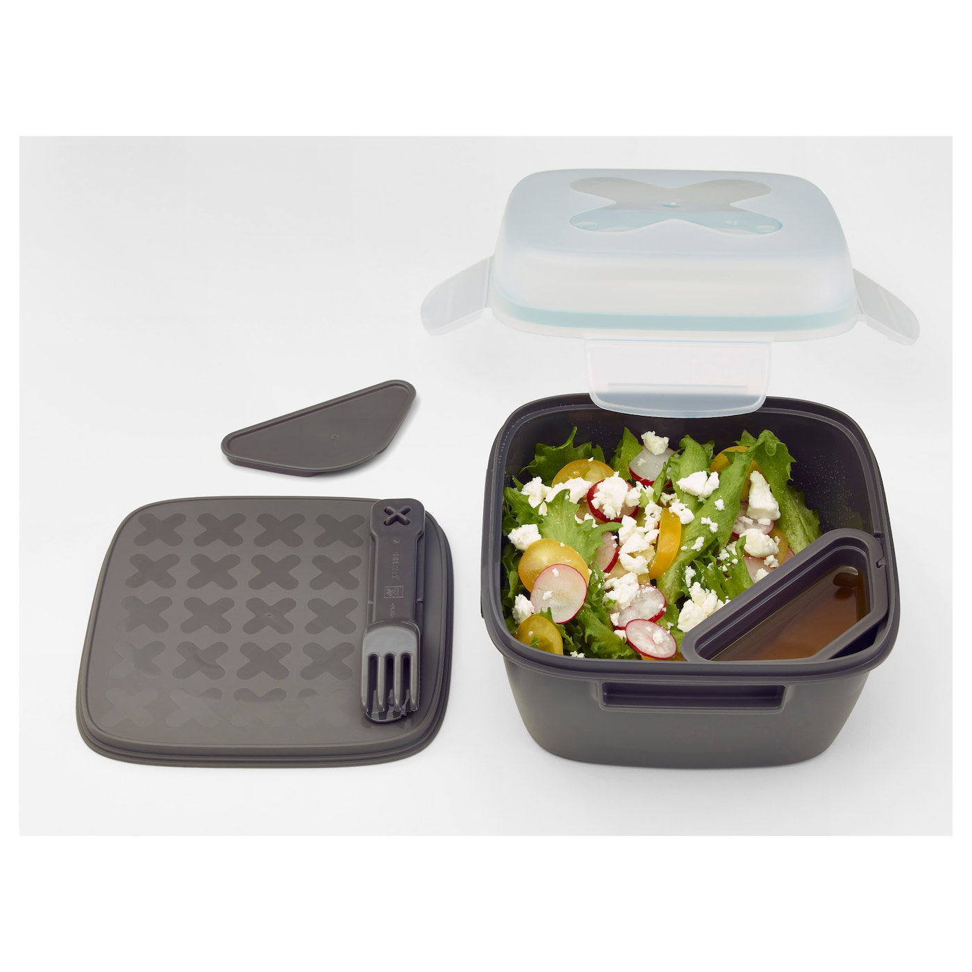 blandning lunch box for salad grey 17x17x11 cm ikea. Black Bedroom Furniture Sets. Home Design Ideas