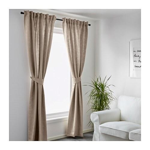 blekviva curtains with tie backs 1 pair beige 145x300 cm. Black Bedroom Furniture Sets. Home Design Ideas