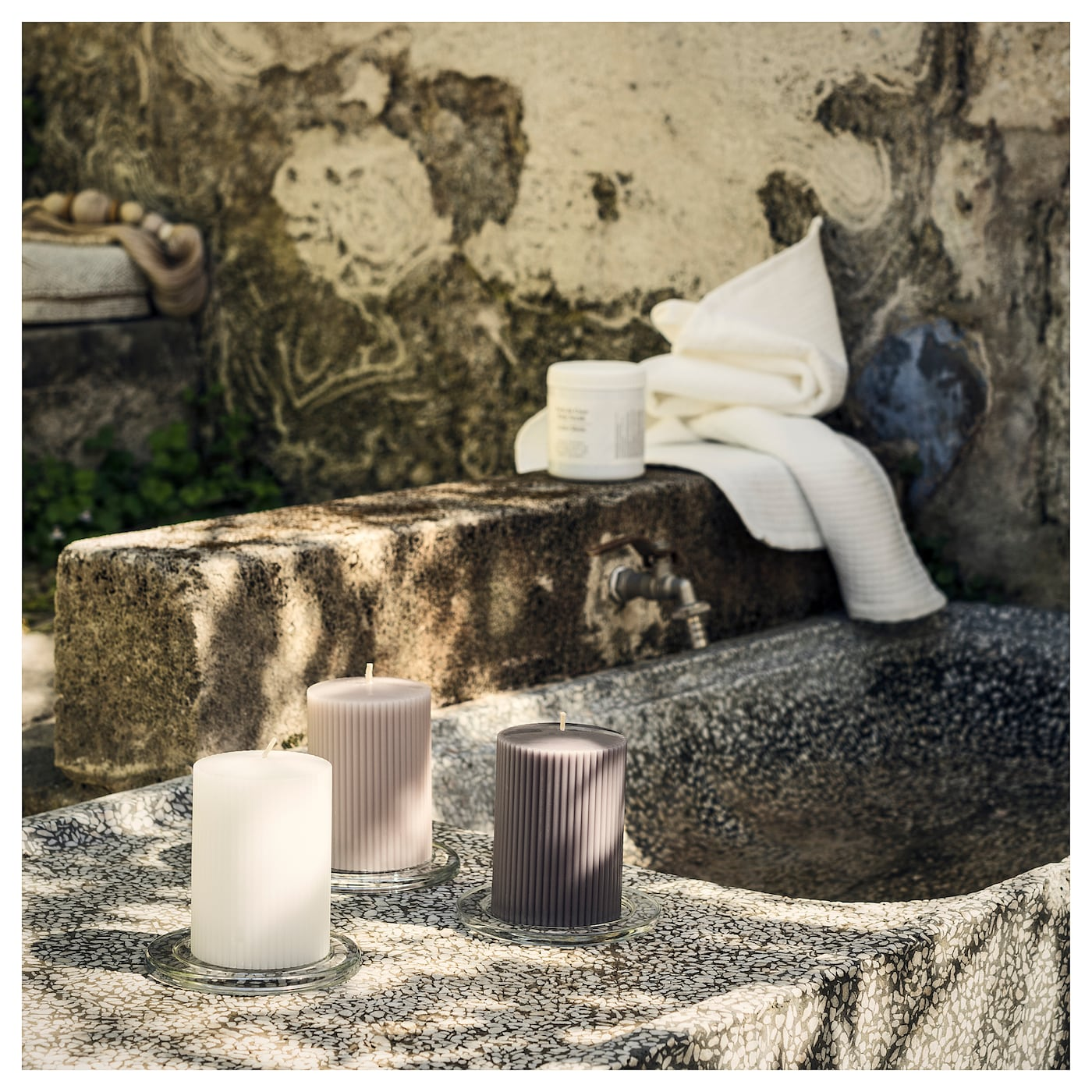 IKEA BLOMDOFT scented block candle A flowery scent of gladiolus with fresh hints of citrus and lily.