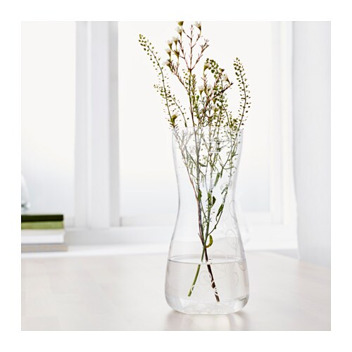 blomster vase clear glass patterned 24 cm ikea. Black Bedroom Furniture Sets. Home Design Ideas