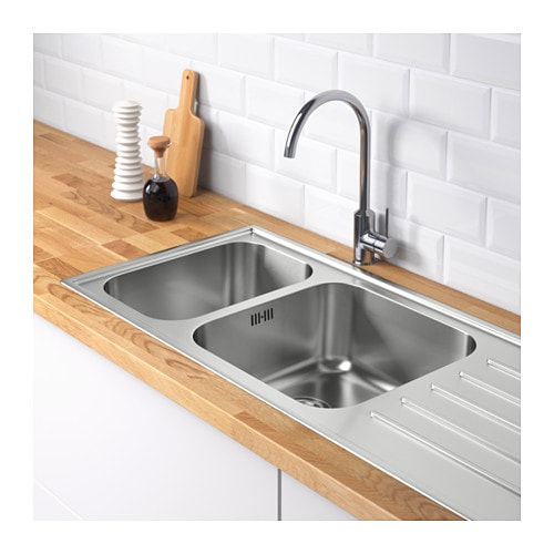 IKEA BOHOLMEN 2 bowl inset sink with drainer