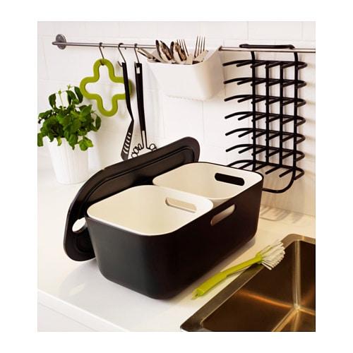 Boholmen dish drainer and cutlery basket black white 37x21 - Egouttoir a vaisselle inox ikea ...