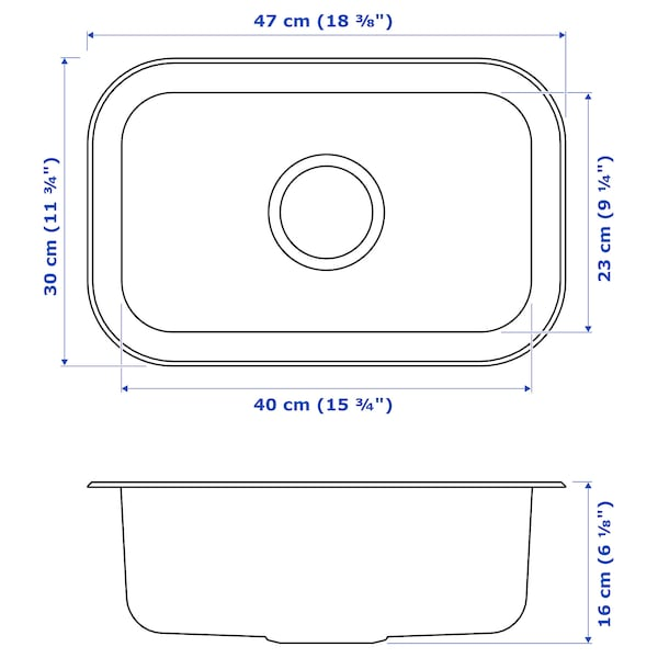 BOHOLMEN Inset sink, 1 bowl, stainless steel, 47x30 cm