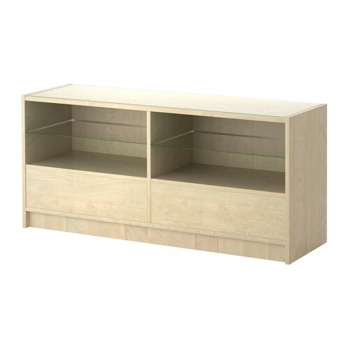 BOKSEL Console table IKEA Veneered surface; gives the table a natural look and feel.  Top in tempered glass; protects surface from stains.