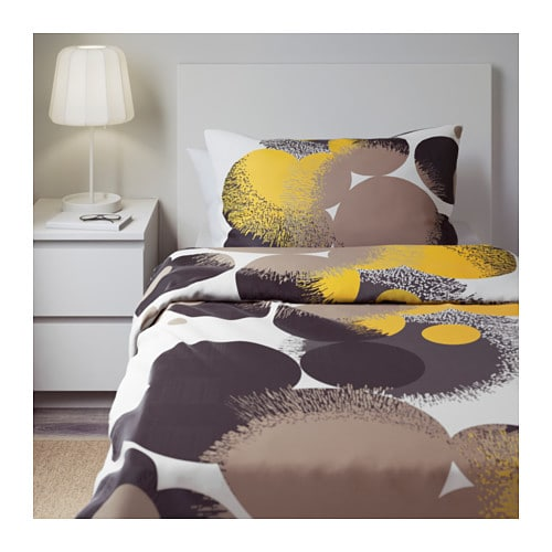 Ikea Yellow And Grey Bedding ~ IKEA BOLLTISTEL quilt cover and 2 pillowcases Concealed press studs