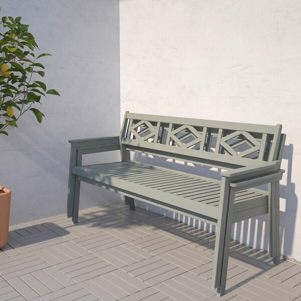 BONDHOLMEN Bench with backrest, outdoor, grey