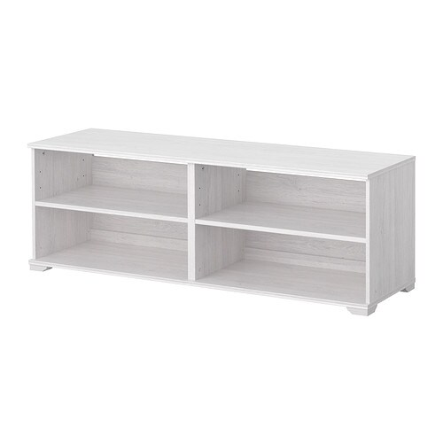 BORGSJÖ TV bench IKEA Built-in cable management for collecting cables and cords; out of sight but close at hand.