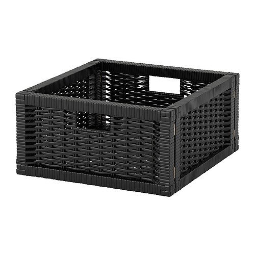BRANÄS Basket IKEA Handwoven; each basket is unique.  Felt pads underneath to prevent scratches.  Handles make it easy to pull out and lift the box.