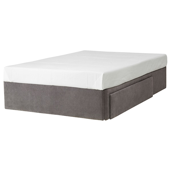 BRANDASUND Divan base with drawer, right/Tallmyra medium grey, Small Double