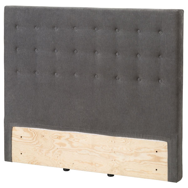 BRANDASUND Headboard, button/Tallmyra medium grey, Standard Double