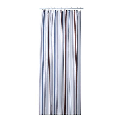 BREDGRUND Shower curtain IKEA Densely-woven polyester fabric with water-repellent coating.