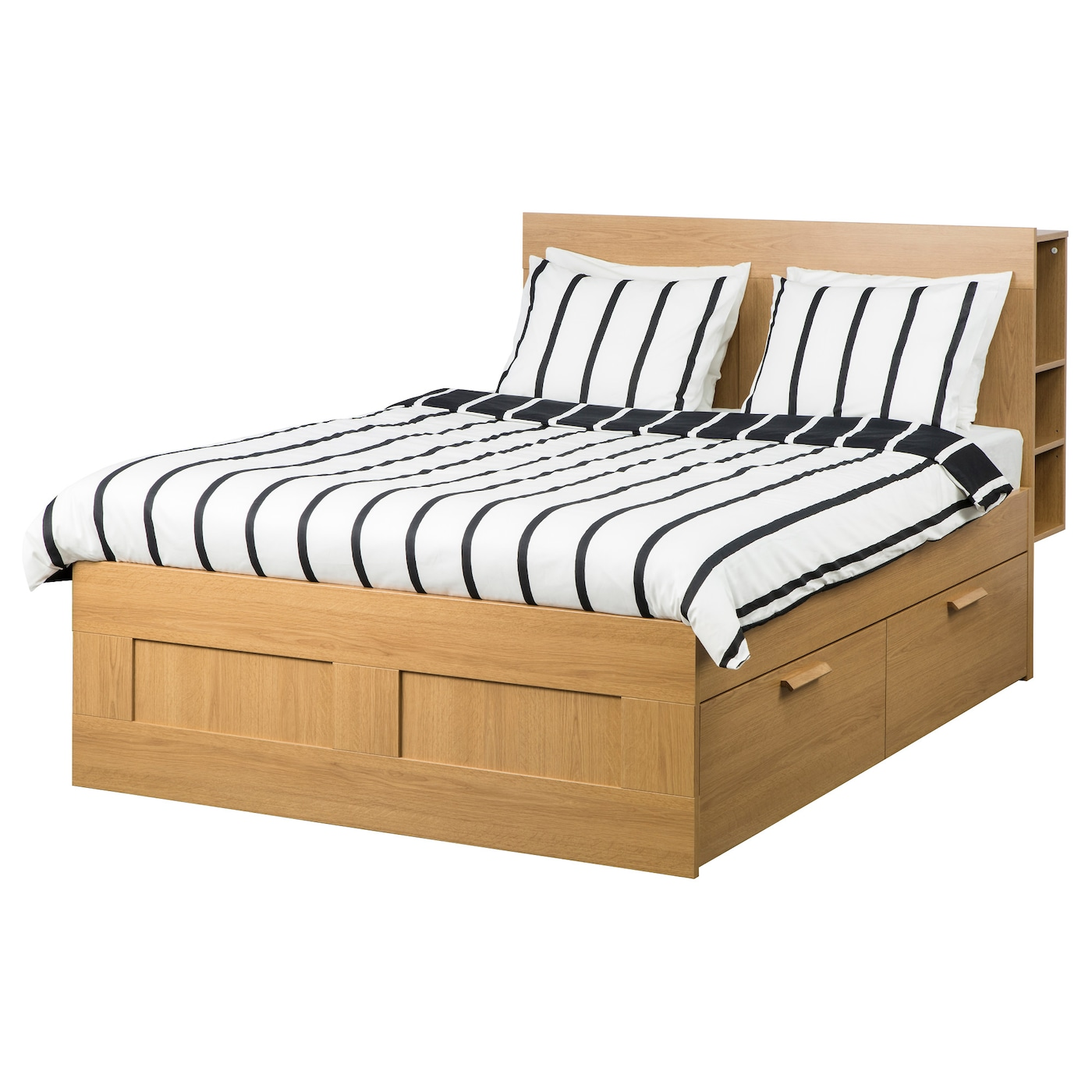 BRIMNES Bed frame w storage and headboard Oak effect leirsund Standard Double IKEA