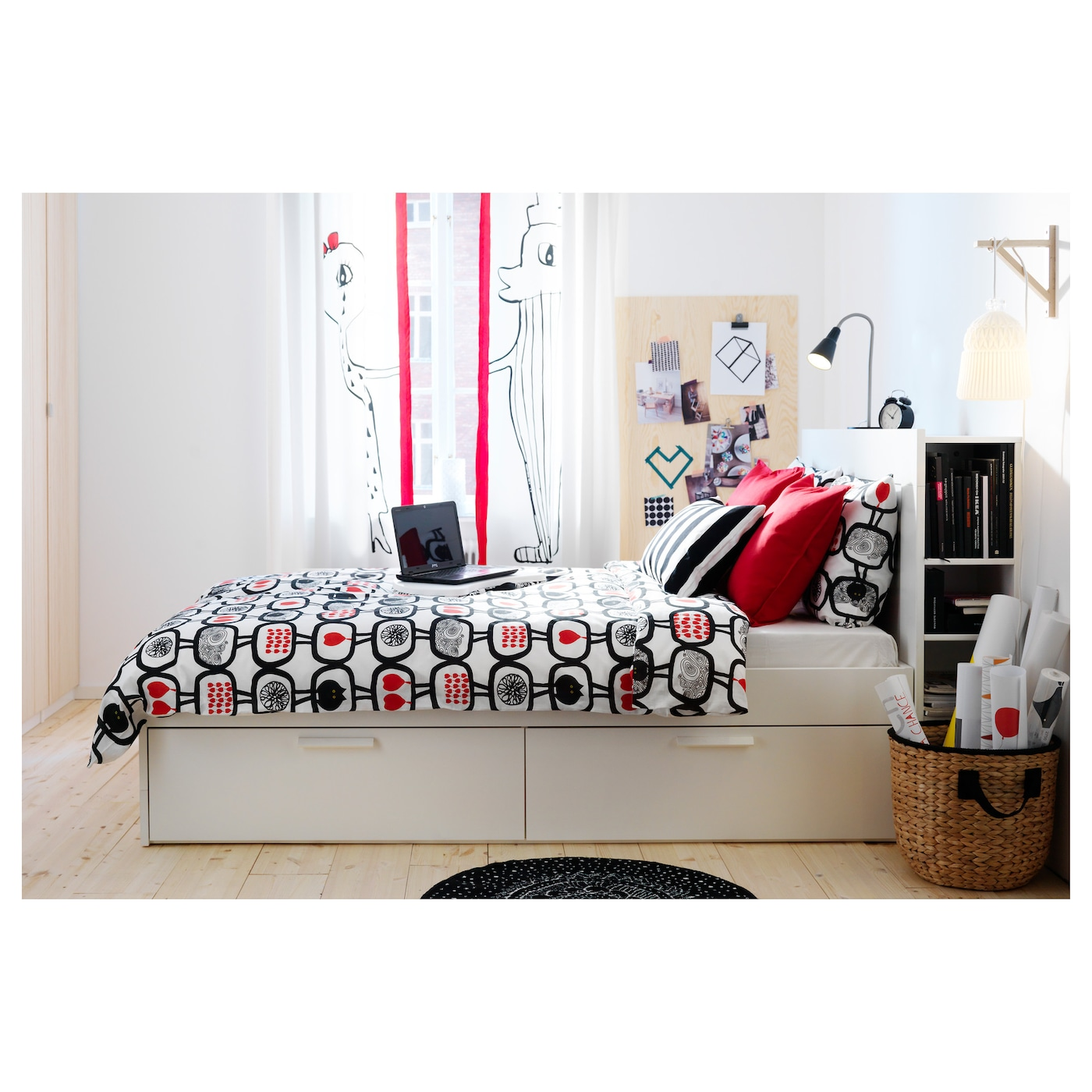 BRIMNES Bed frame w storage and headboard White luröy Standard Double IKEA